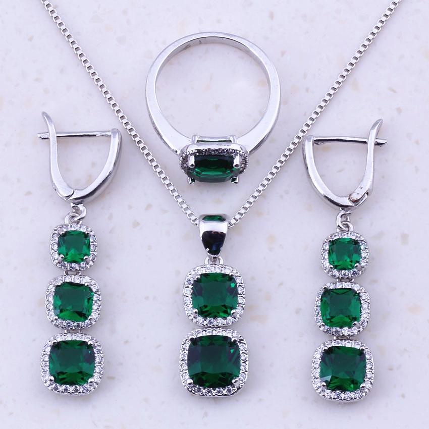 Conjuntos de joyería cuadrada de plata esterlina 925 de imitación verde esmeralda de alta calidad para mujeres tendencia tendencia joyería de moda J0043