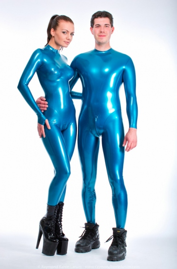 Skin tight latex suit