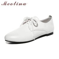 Meotina לבן נשים נעלי דירות מקרית תחרה עד מחודד נעליים שטוחה הבוהן סתיו סתיו נעלי תלמיד נעלי אוקספורד שחורה בתוספת גודל 11 12