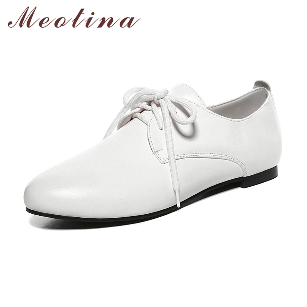 Meotina White Shoes Women Flats Casual Lace up Flat Shoes Pointed Toe Student Shoes Autumn Autumn Oxfords Black Plus Size 11 12 цены онлайн
