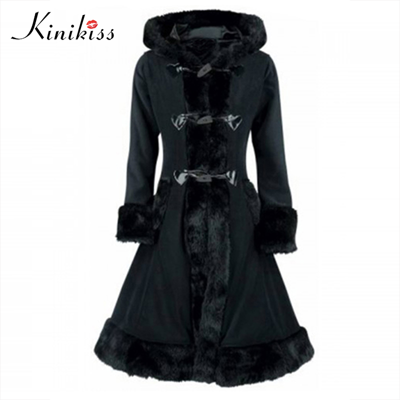 Kinikiss Vintage Coat Trench Black Fur Women Winter Overcoat Hooded Button Slim Trench Retro Outwear Tops Autumn Thick Coats