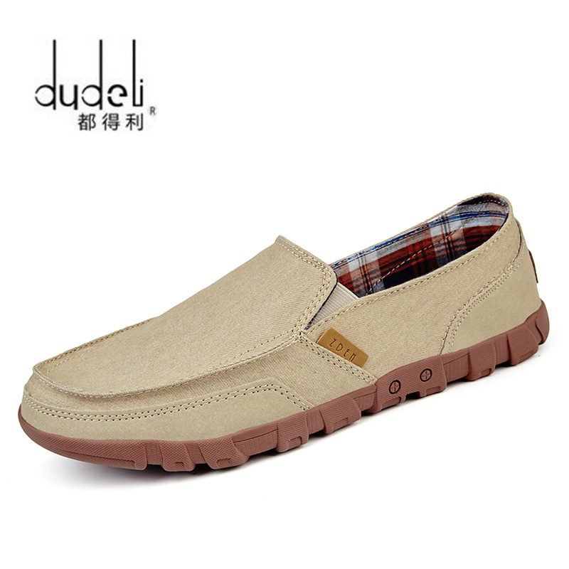 DUDELI Men Canvas Shoes Loafers Light Comfortable Slip-On Plus-Size Men's Fashion Summer