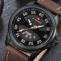 New NAVIFORCE Luxury Brand Mens Watches Leather Analog Quartz Watch Men Date Waterproof Sport Clock Man
