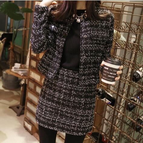 women clothes set 2016 new autumn winter small fragrant suit set fashion elegant Wool Blends skirt coat two piece set coat+skirt