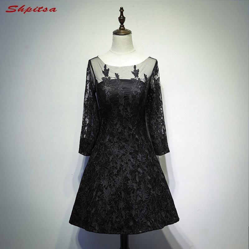 Black Long Sleeve Lace Cocktail Dresses Knee Length for Women Little Party Coctail Prom Dresses vestidos de coctel