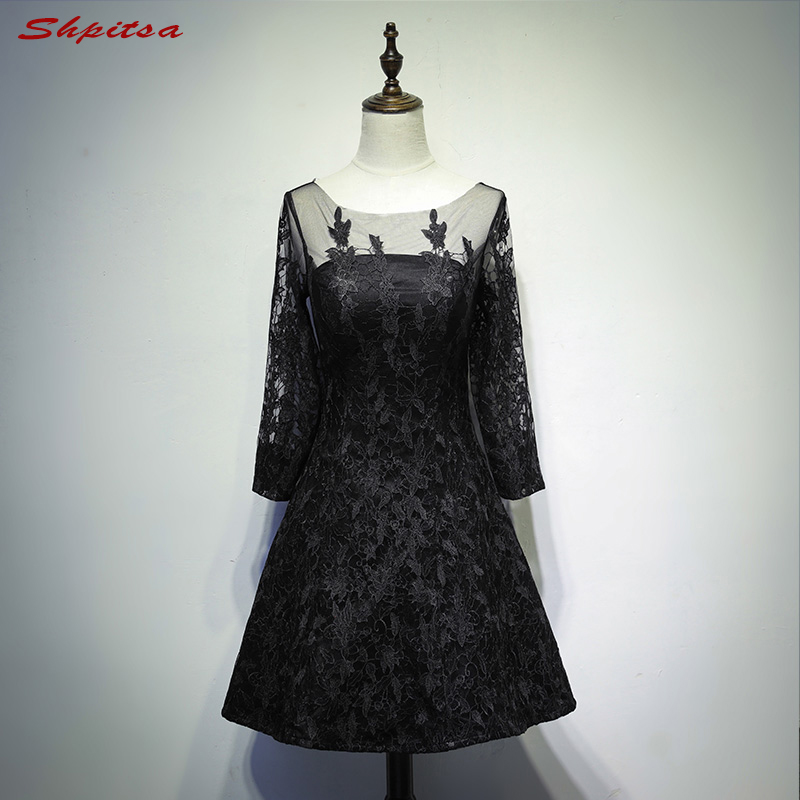 Black Long Sleeve Lace Cocktail Dresses Knee Length for Women Little Party Coctail Prom Dresses vestidos de coctel