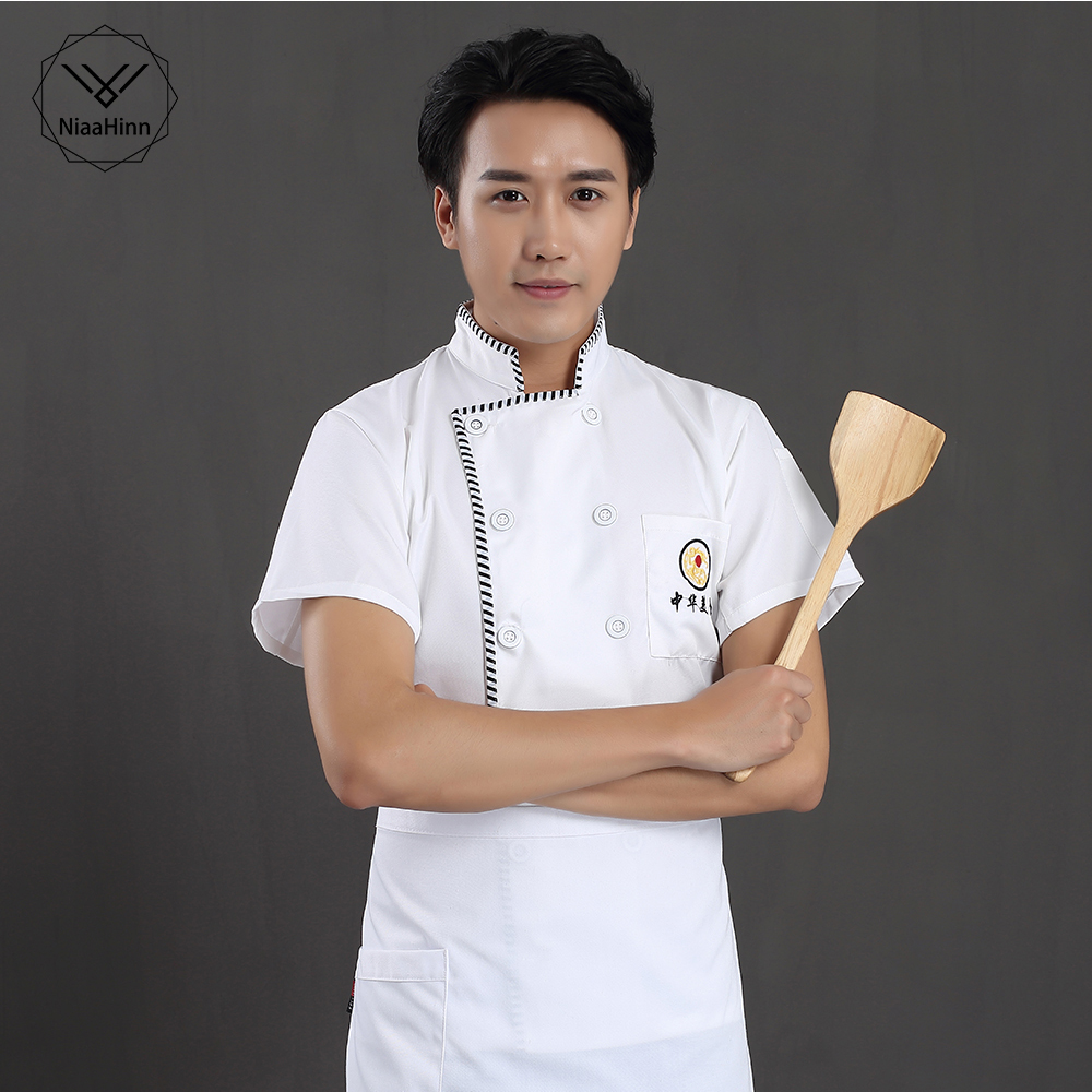 Chinese-style Food Service Chef Jacket Restaurant Uniform White Short Sleeved Hotel Kitchen Male And Female Waiterswork Clothes