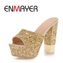 ENMAYER Cool Spring and Summer Womens Heeled Fashion Sandal With Bling Golden Gray Slip On Woman Casual Shoes For Ladies WHY24