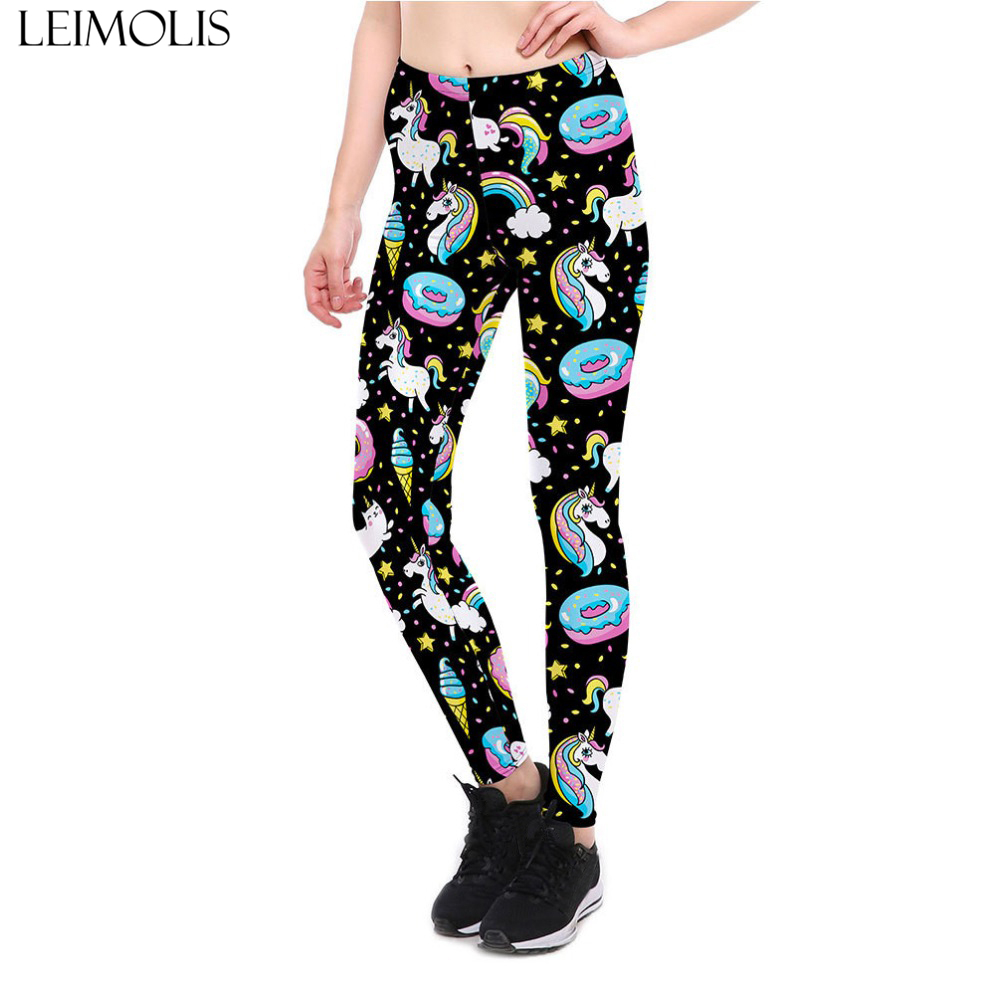 ebdd0efee3f LEIMOLIS 3D printed fitness push up workout leggings women gothic unicorn  rainbow doughnut plus size High Waist punk rock pants-in Leggings from  Women s ...