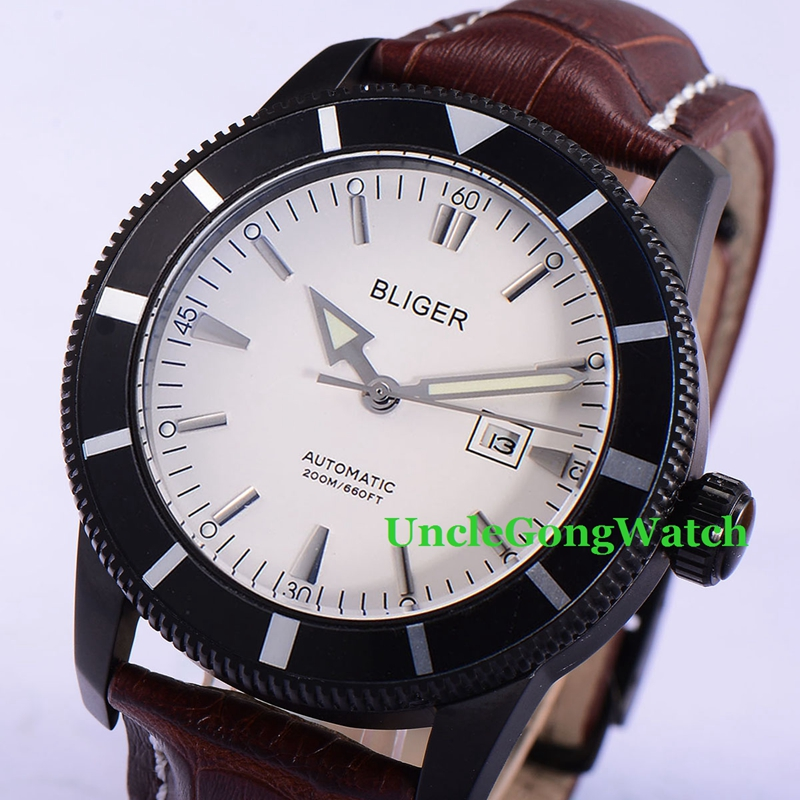 46mm Bliger Automatic Mens Watches White Dial Black Rotatable Bezel Timepiece Leather Strap Deployment Buckle Clock BA4601PW