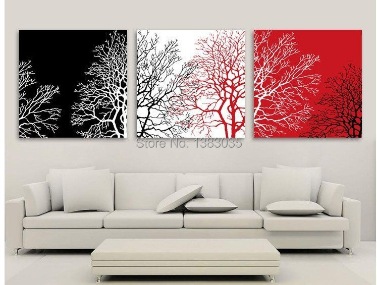 Hand Painted Tree Canvas Oil Painting Modern Abstract 3 Piece Black White Red Wall Art Home Decoration Picture Set - Fashion store