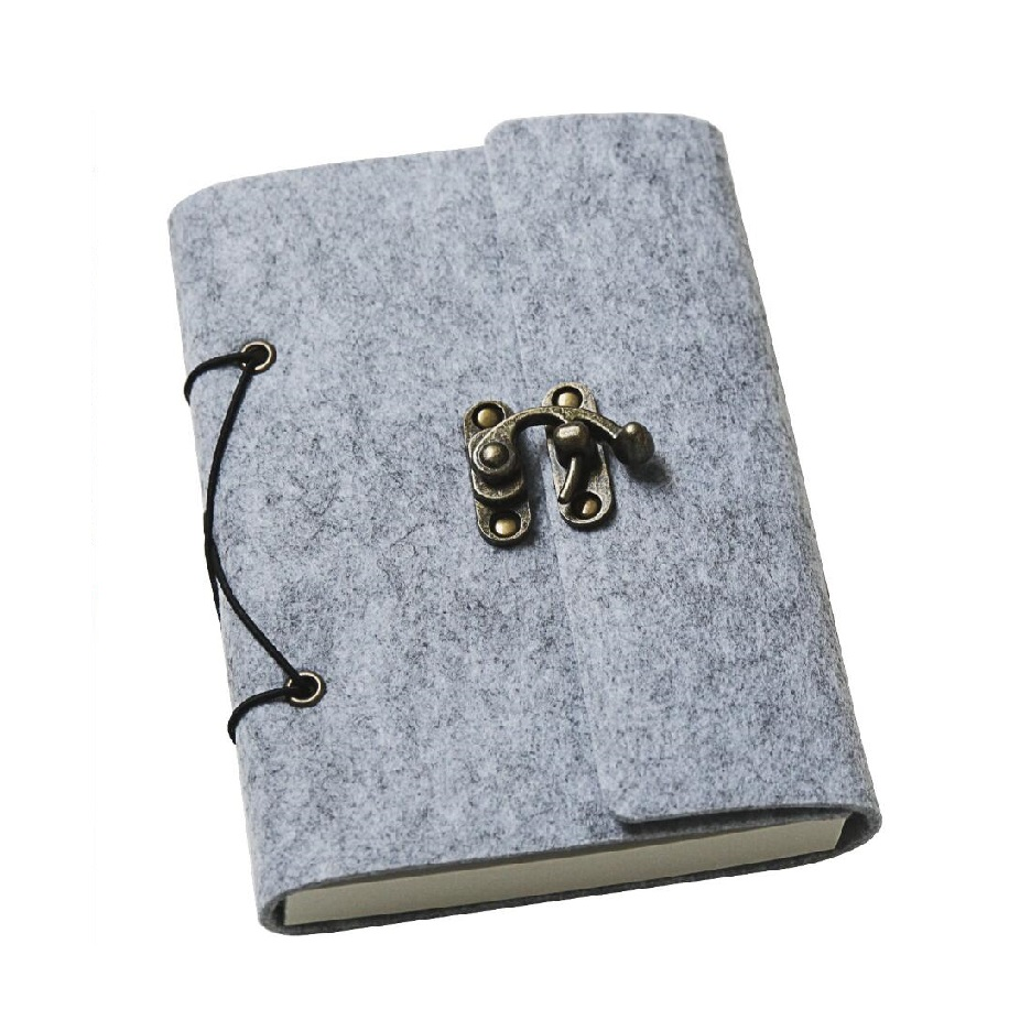 B6 Grey Felt Cover Notebook Vintage Diary Sketchbook with Vintage Bronze Lock - 195*150mm, 120 Sheets Paper цена