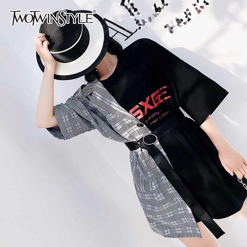 f0127c9d57c TWOTWINSTYLE Patchwork Mini Dress Female Plaid Letter Sashes High Waist  Irregular Dresses 2018 Summer Fashion Sexy