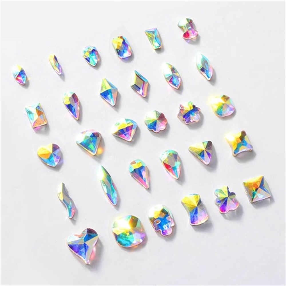 10Pcs 3D שונה sizesBride DIY קריסטל נייל אמנות קישוטי AB קריסטל נייל אמנות ריינסטון Gems גליטר DIY יהלומי נייל טיפ