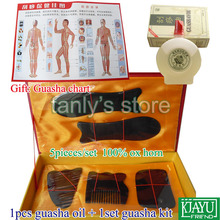 wholesale & retail Traditional Acupuncture Massage tool GuaSha beauty face kit buffalo horn 1set guasha kit+1pcs gua sha oil 1pieces lot wholesale traditional acupuncture massage tool guasha oil 50ml piece scrapping skinscraping gua sha therapy