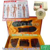 wholesale & retail Traditional Acupuncture Massage tool GuaSha beauty face kit buffalo horn 1set guasha kit+1pcs gua sha oil