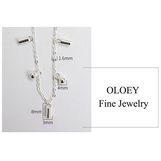 OLOEY Real 925 Sterling Silver Beads Hanging Chain Anklet for Women Girls Friend Foot Jewelry Leg Bracelet Fine Jewelry YMA004