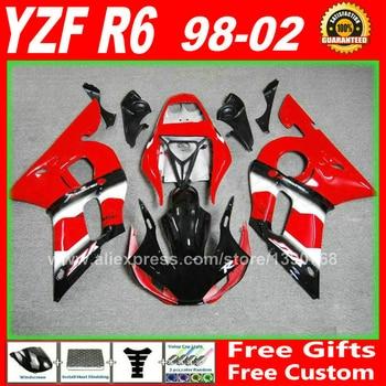 Red fairing fit for YAMAHA YZF R6 98 99 00 01 02 plastic 1998 1999 2000 2001 2002 fairings kits free custom