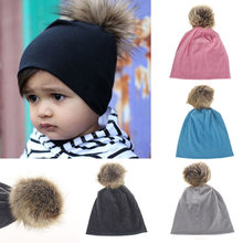 db563d1b26e Cute Warm Autumn Winter Cotton Baby Hat Fur Pompom Ball Kids Cap Solid  Color Baby Girls Boys Hat Kid Beanie Baby Accessories