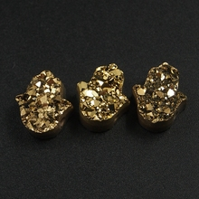 Natural Crystal Druzy Pendant Gold Color Mix Irregular Shape Stone DIY Jewelry Making Pendants Necklaces