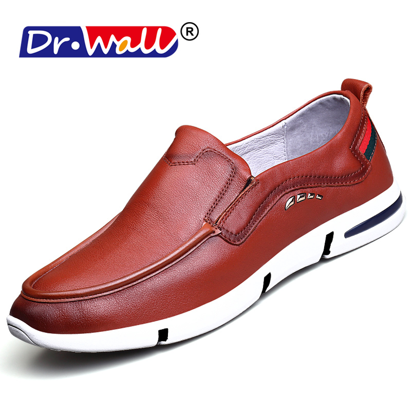 Dr.Wall Brand Mens Casual Loafers Tenis Masculino High Quality Plus Size Men Genuine Leather Shoes Leather Shoes Big Size 38~44 free shipping brand a2 style leather clothing plus size man s 100% genuine leather jackets classics mens engraved jacket quality