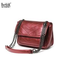 BRIGGS vintage shoulder bag women messenger bags ladies chain crossbody pu leather purse and handbag fashion female sac main