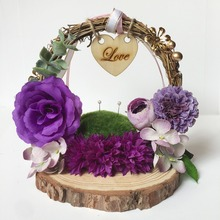 1pcs lot Purple white pink red personalized Engagement rustic wedding custom ring holder double rings box pillow