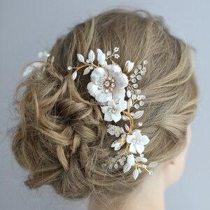Image 2 - Peinetas de flores de porcelana para novia, conjunto de pasadores para el pelo, tocado de boda a la moda, Tiara lateral para baile de graduación, accesorios para el cabello para novias hechos a mano