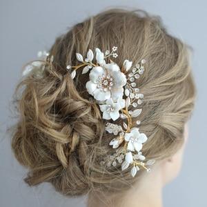 Image 2 - Porcelain Flower Bridal Hair Combs Pins Set Fashion Wedding Headpiece Party Prom Side Tiara Handmade Brides Hair Accessories
