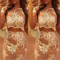 2 pcs Sexy Mulheres Conjuntos de Roupas de Verão Fresco Flor Do Laço Da Flor Branca Top Colheita Bodycon Saia Clube Partido Bodycon Clothinf verão