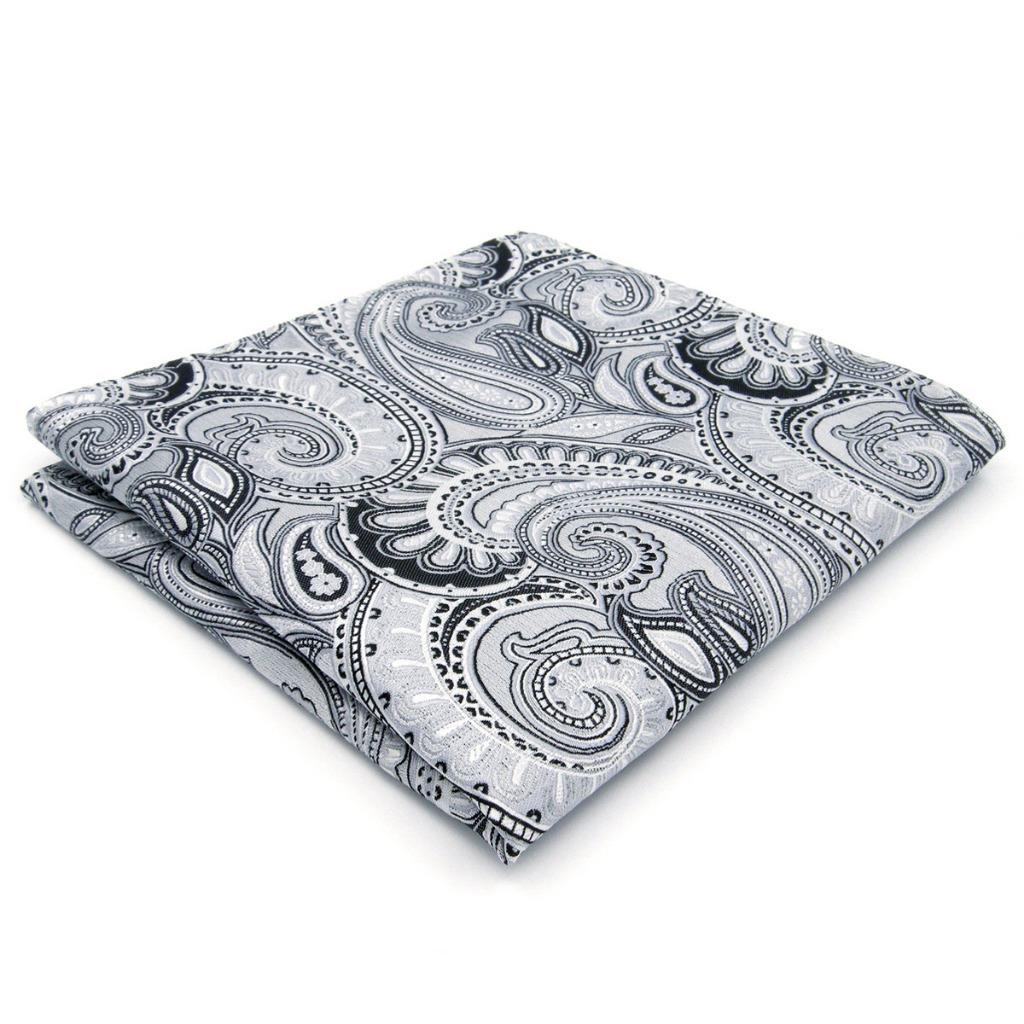 KH07 Paisley Silver Mens Pocket Square Silk Fashion Hanky Jacquard Woven Classic