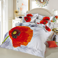 ARNIGU Orange Color Flower 3D Printed White Quilt Cover Set 100 Cotton Bedlinen Bed Sheet Pillowcase