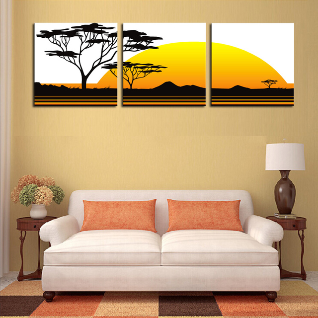 Unframed 3 Panels Abstract Canvas Oil Wall Art Painting Black Trees ...