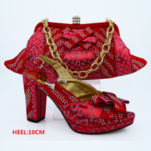 Red Color Italian Shoe Bag Set African Wedding Shoe and Bag To Match for Parties High Quality Ladies Shoes and Bag Set CP63008