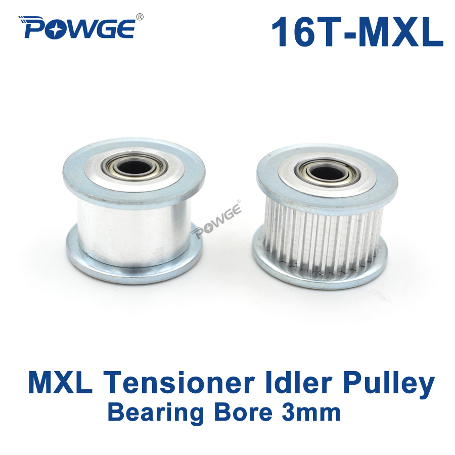 POWGE Inch 16 Teeth MXL synchronous Pulley Idler Tensioner Wheel Bore 3mm with Bearing Guide Regulating pulley MXL 16teeth 16T|Pulleys|   - AliExpress