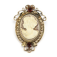 Vintage Cameo Elegant Brooch Pins Fashion Style Crystal Portrait Brooch For Women Antique Wedding Bridal Bouquet Jewelry(China)