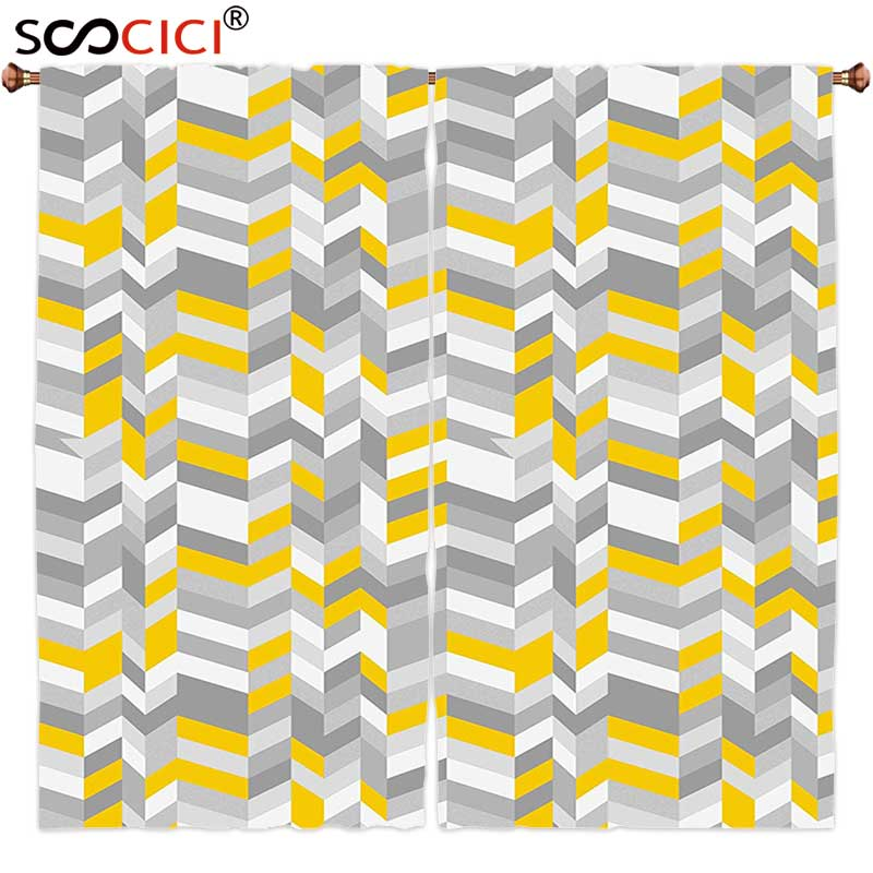 Online Shop Window Curtains Treatments 2 Panels,Grey And Yellow Ethnic  Indian Bohem Design With Flowers Leaves Swirls And Dots Image Black |  Aliexpress ...