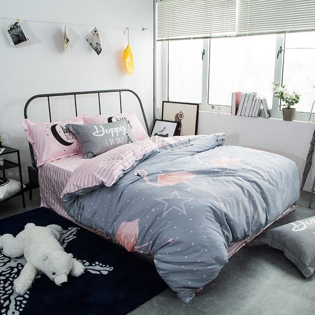 Модный стиль Фламинго печати постельного белья twin/single/Queen размер 100% хлопок Пододеяльник Простыня наволочка белье покрывало комплект