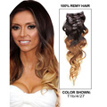Grade 8A New ombre clip in human hair extensions 7pcs/set #1b/4/27 body wave brazilian virgin human hair clip in extension