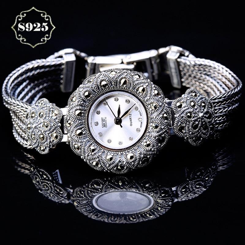 Limited Classic Elegant S925 Silver Pure Thai Silver Plum Flower  Bracelet Watches Thailand Process Rhinestone Bangle Dresswatch