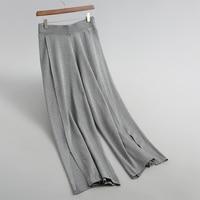 Fall 2018 Women solid color pants casual knit pants split design