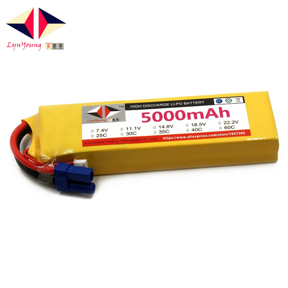 LYNYOUNG AKKU Rc lipo font b battery b font 3S 11 1V 5000mAh 40C for plane