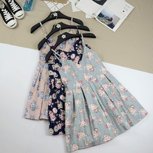 Summer Japanese Beach Party Dress Women Floral Cute Pleated Strap Mini Dresses Lady 2017 Cotton Femme Suspender Short Vestidos