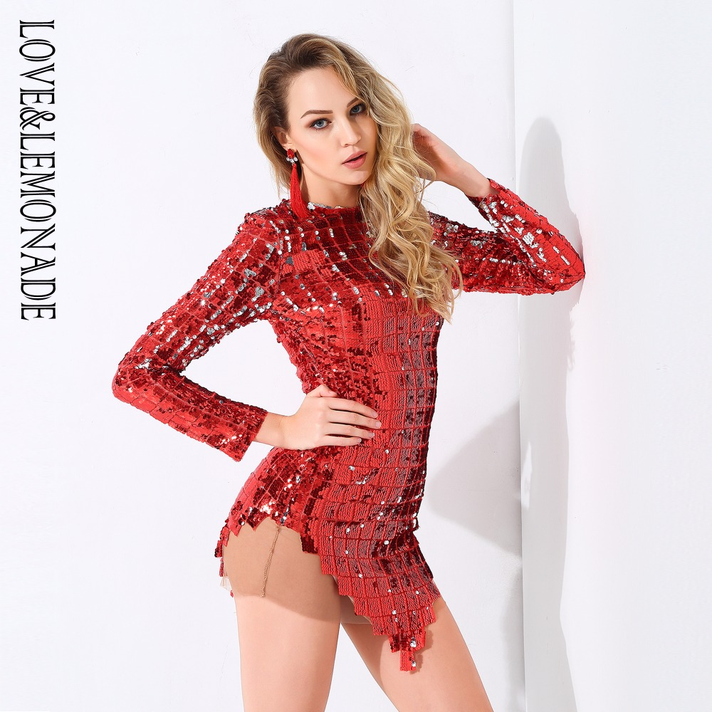 Love Lemonade Red Plaid Sequins Mesh Dress LM0781