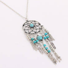 Women Bohemia Tassels Feather Pendant Dreamcatcher Necklace Jewelry Dream Catcher Blue Beads Silver Long Sweater Chain(China)