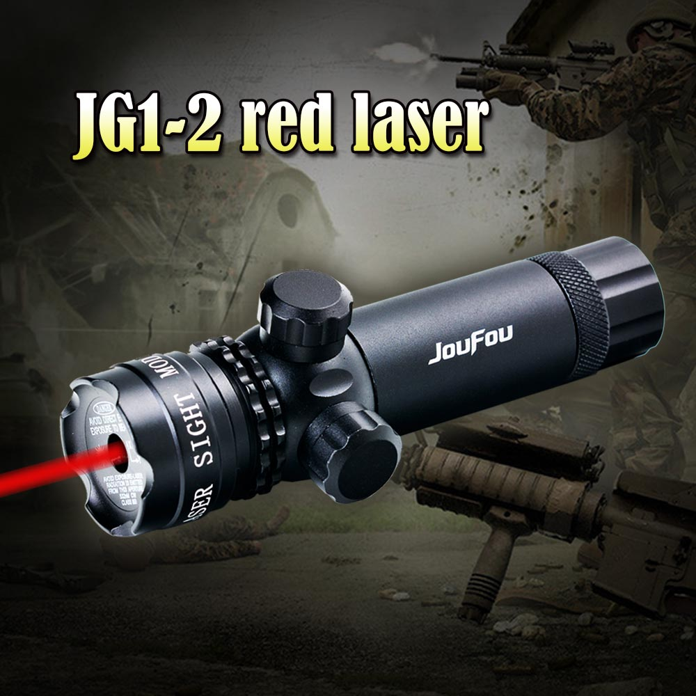 JOUFOU Tactical 5mw Red Laser Sight Rifle Scope Designator 20mm Mount Tail Switch