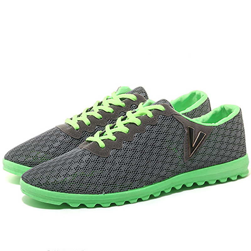 Mens Casual Shoes Fashion Summer Breathable Light Mesh Network Lace Up Walking Flats Comfortable New Super Cool