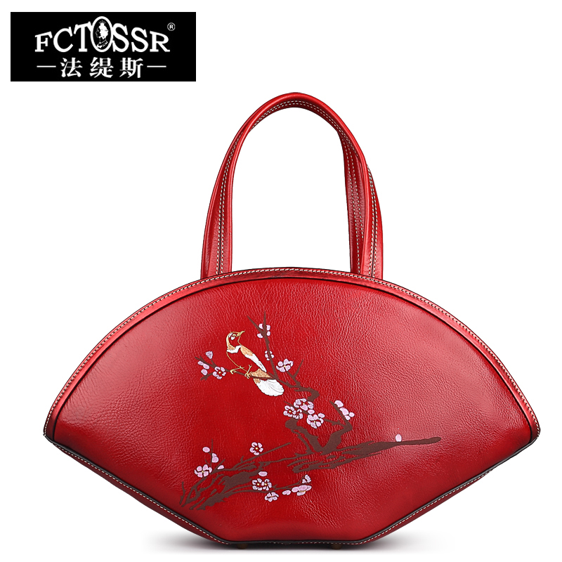Rivet Genuine Leather Bag Top Handle Women Handbag Handmade Female Shoulder Bag Chinese Style Messenger Crossbody Bag Women genuine leather studded satchel bag women s 2016 saffiano cute small metal rivet trapeze shoulder crossbody bag handbag