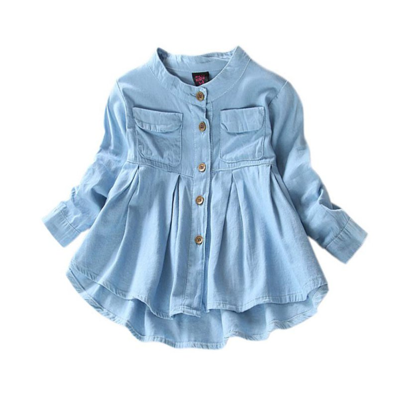 New Girls Jean Blouses Fashion Baby Girls Clothing Jeans Shirts Long-sleeved Blouse baby girl blouse 2017 new kids children long sleeved shirt 2 layers lapel collar cotton baby girls school blouses girls blouse