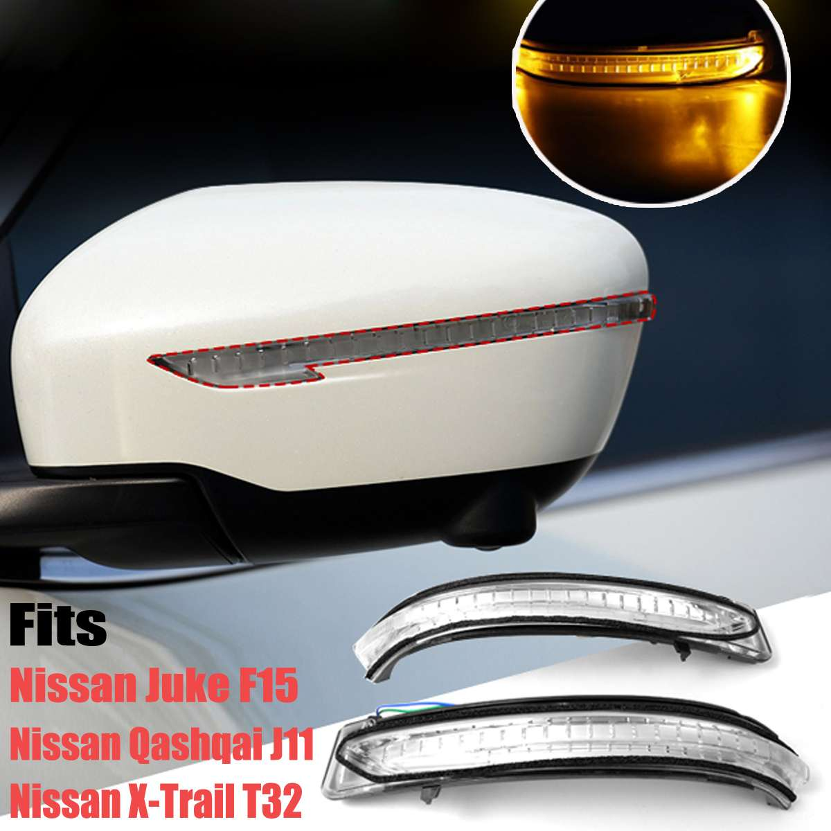Left / Right Turn Signal Light Rear Mirror Indicator Mirror Indicator Lens <font><b>LED</b></font> Signal Light For <font><b>Nissan</b></font> <font><b>X</b></font>-<font><b>Trail</b></font> <font><b>T32</b></font> Qashqai J11 image